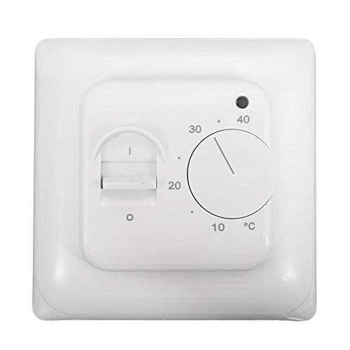 AC 230V mechanische Fußbodenheizung Thermostat Temperaturregler 16A 5W 4 ° C-45 ° C mit Sensor Sonde,Raumtemperaturregler mit Netzschalter Ein/Aus und LED