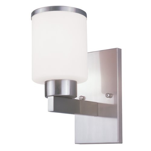 Z-Lite 312-1S-BN Cosmopolitan One Light Wall Sconce, Metal Frame, Brushed Nickel Finish and White Shade of Glass Material by Z-Lite