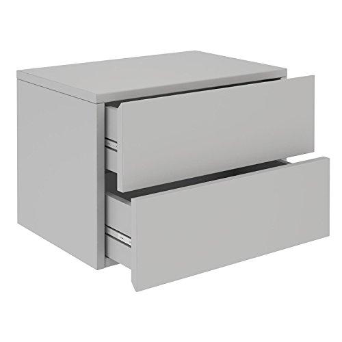 CARO-Möbel Nachtkommode ANNI Nachttisch Nachtschrank Hängend Wandregal mit 2 Schubladen in Hellgrau