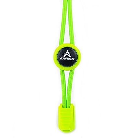 ATHWIN LACES – Schnellschnürsystem – 1 Paar elastische Schnürsenkel mit Schnellverschluss – Perfekter Sitz und einzigartiger Komfort – (Neon (Acht Knoten-knopf)