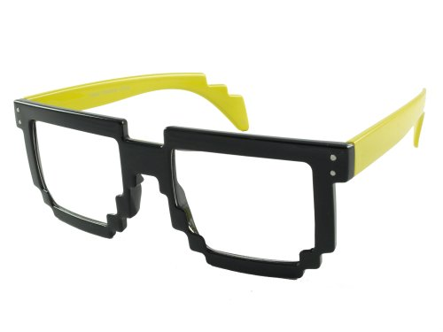 8 Bit Pixel Glasses Clear Lens 80's Retro Geek Style
