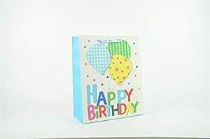 Shatchi 7169-Gift-BAG-BLUE-M - Bolsa de regalo para cumpleaños (32 x 26 x 12 cm), color azul