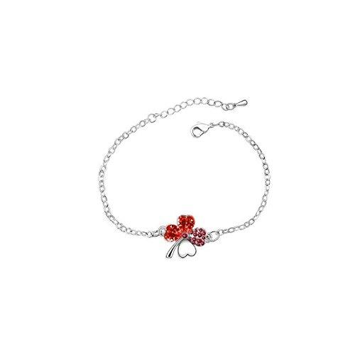 Bracelet trèfle cristal swarovski elements plaqué or blanc Rouge
