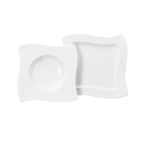 Villeroy & Boch NewWave Dinnerset / quadratische Suppenteller und Speiseteller in geschwungener Form aus edlem Porzellan / 1 x Set (8-teilig) Dinner Set