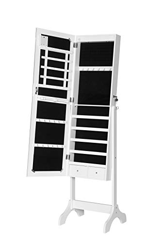 EUGAD Schmuckschrank mit LED Beleuchtung Ganzkörperspiegel abschließbar Tür mit 2 Schlüsseln, Schmuckorganizer Schmuckkasten Kommode