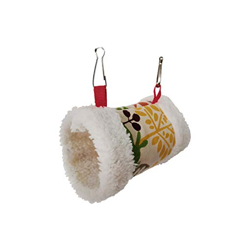 YaptheS Pet Hamster Hammock Winter-Zylinder-Design-Plüsch-hängendes Bett Buntes Schlaf Haus Nest für Gerbils Chinchilla Eichhörnchen Igel 1PC -