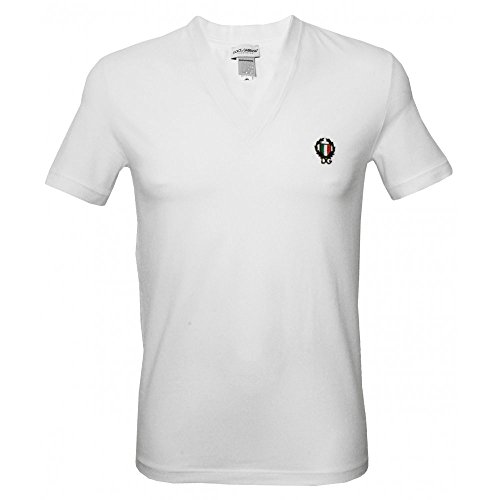 Dolce & Gabbana Sport Kamm Tiefen V-Ausschnitt Herren T-shirt, Weiß Medium Dolce Und Gabbana, Weißes T-shirt