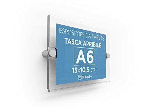 Espositore in plexiglass da parete, targa a tasca apribile in plexiglass, porta avvisi e depliant formato a6 orizzontale 15×10,5 cm, completa di distanziali in alluminio