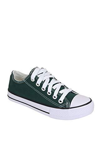 Frentree Unisex Damen Herren Sneaker Low Bequeme Leinenschuhe zum Sommer, Größe:38, Farbe:grün - Sneakers Grau Und Grün