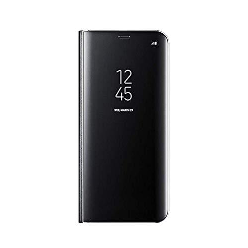 YSIMEE Compatible con Fundas Xiaomi Redmi 5 Plus,Carcasa Clear View Cover Hora Ver Funda de Espejo Flip Folio Caso Cierre Magnético Teléfono Móvil Estuches -Negro