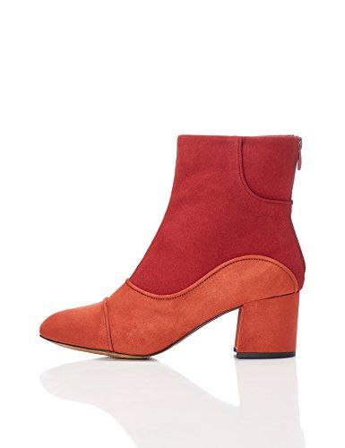 FIND Damen Stiefel in 60er-Jahre Wildleder-Optik mit Reißverschluss, Mehrfarbig (Rust/Red), 41 EU