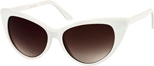 Unbekannt Unknown Sunglass Warehouse Victoria # 1272 Feld Mit Smoke Lenses Katzenaugen-Sonnenbrille 1 Erwachsene Größe Weiß