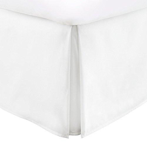 Italienische Luxus Hotel Collection Bett, Rock mit 35,6cm Drop-doppelt gebürstet Mikrofaser Plissee Staub Rüschen, Mikrofaser, weiß, King Size Satin-voller Rock