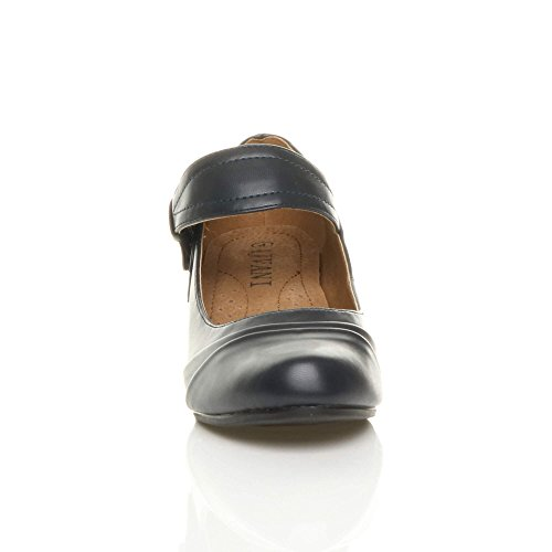 Femmes talon moyen babies travail chaussures de confort escarpins pointure Mat bleu foncé