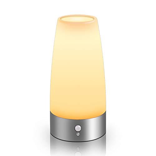 Aappy Bewegungsmelder Nachtlicht, batteriebetriebene Lampe, tragbare drahtlose LED-Tisch-Bett-Schreibtisch Leuchten für Schlafzimmer, Flur, Bad, Küche, Wohnzimmer (Runde Silber)