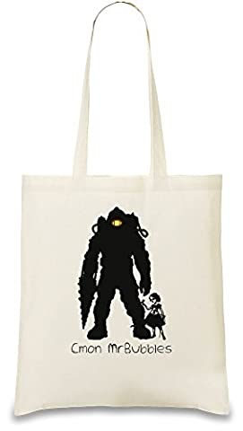 Cmon Mr.Bubbles Custom Printed Tote Bag| 100% Soft Cotton| Natural Color & Eco-Friendly| Unique, Re-Usable & Stylish Handbag For Every Day Use| Custom Shoulder Bags By Bang Bangin