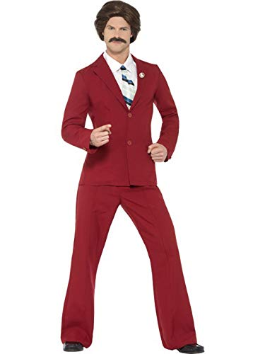 Luxuspiraten - Herren Männer 70er Jahre Ancorman Ron Burgundy Kostüm mit Anzug, Hemdteil, Schnurrbart und Krawatte, perfekt für Karneval, Fasching und Fastnacht, M, Rot