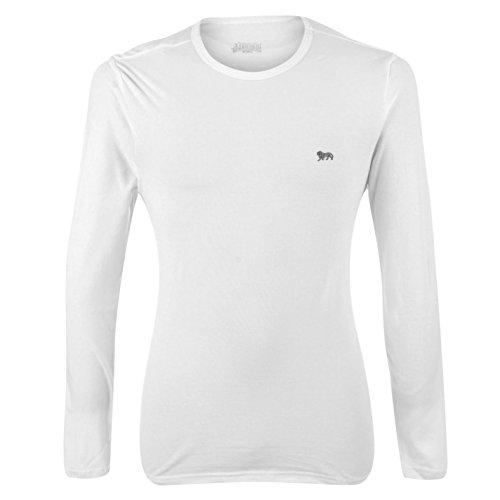 Lonsdale Herren Langarm Sport T Shirt Rundhals Extra Leicht Sportshirt Weiß