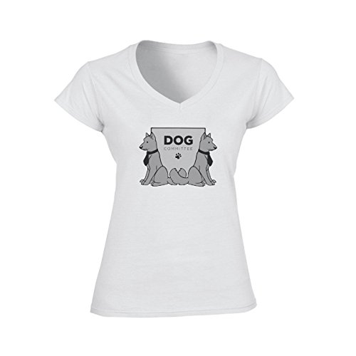 Two Dogs Committee Sitting Logo Damen V-Neck T-Shirt Weiß