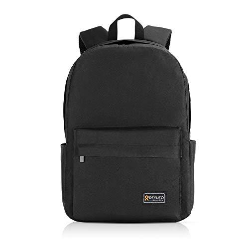 REYLEO Zaino Scuola, Zaino Daypack Unisex Classic per Laptop da 15,6 Pollici, Impermeabile Daypack con Tasche Laterali per Bottiglia - Nero (Versione aggiornata)