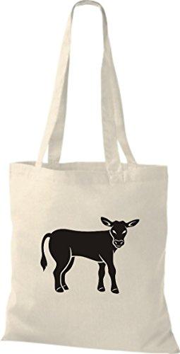 Shirtstown Pochette en tissu Animaux Vache, Bulle Beige - Neutre