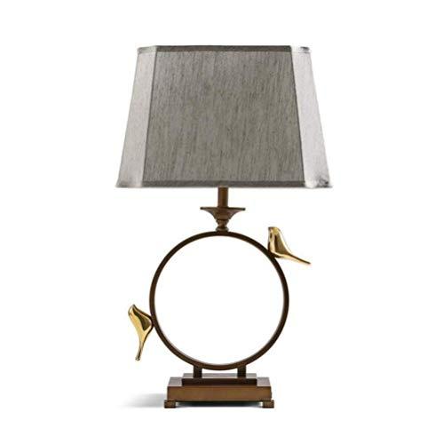Schreibtischlampe Schlafzimmer Retro Chinesischen Stil Nachttischlampe Dekorative Goldfarbe Vogel Verstellbare Stoff Schatten Schmiedeeisen Tischlampe Mit Druckschalter Für Studie Office