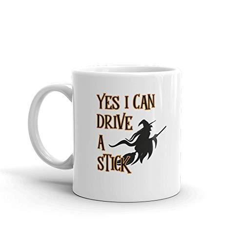 Yes I Can Drive A Stick Halloween 11oz White Ceramic Glass Coffee Tea Mug Cup
