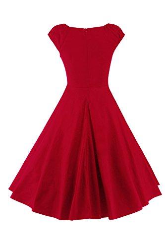 Babyonline® Elegant Damen Vintage Kleid Rockabilly Abendkleider Cap Sleeves Swing Faltenrock in verschiedenen Farben FS1468 Rot