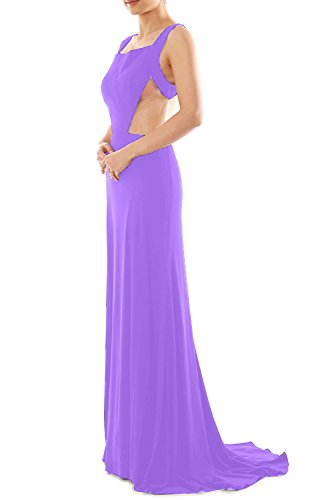 MACloth Women's Straps Scoop Neck Jersey Long Evening Gown Formal Party Dress Lavendel