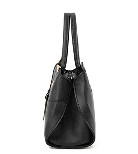Baymate Handtasche Große Tasche Retro-Handtaschen lässig Umhängetasche Kuriertasche für Frauen Schwarz