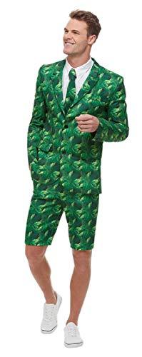 Fancy Me Herren Tropische grüne Palmen-Anzug Hawaiian Thema, Sommer, Strand, BBQ, Hirsch, Karneval, Kostüm, Kostüm, Outfit, M-XL (Sommer Themen Kostüm)