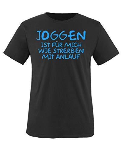 Comedy Shirts - Joggen ist Fuer Mich wie sterben mit Anlauf - Jungen T-Shirt - Schwarz/Blau Gr. 110-116 - Sterben Hoody