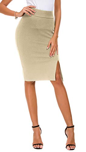 EXCHIC Donna Vita Alta Gonna Elastico Bodycon Midi Gonna (S, Cammello)