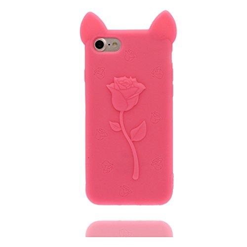 "iPhone 6 Coque, iPhone 6S Étui Cover Housse pour iPhone 6s 4.7 "" [Cartoon 3D Oreilles de porc Rose Cute] Gel TPU Shell iPhone 6 Case (4.7"") Résistant à la poussière Scratch Noir Rose"
