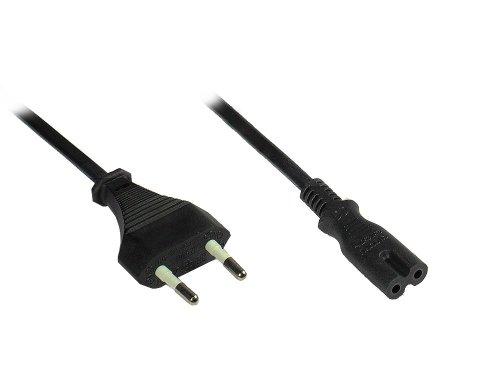 Good Connections Euro-Netzkabel - 1,5 m - Netzstecker (gerade) an Euro 8 Buchse (gerade) - für Smart TV, Spielekonsole, Playstation, XBOX One S, Drucker, Radio, Rasierer, usw. - schwarz