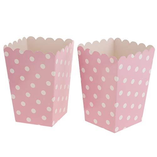 FLAMEER 12x Bunte Popcorn Tasche Box Snacktüten Süßigkeiten Schachtel Nachtisch Tüten, aus Pappe - Rosa (Von Taschen Popcorn)