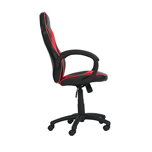 Ribelli® Bürostuhl im Racing Style - Gaming-Stuhl stufenlos höhenverstellbar ca. 60,5 x 107-117 x 56 cm in Lederoptik - mit Rollen - versch. Farben (Rot) - 2
