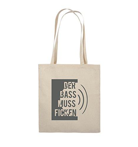 Comedy Bags - DER BASS MUSS FICKEN - Jutebeutel - lange Henkel - 38x42cm - Farbe: Schwarz / Silber Natural / Grau