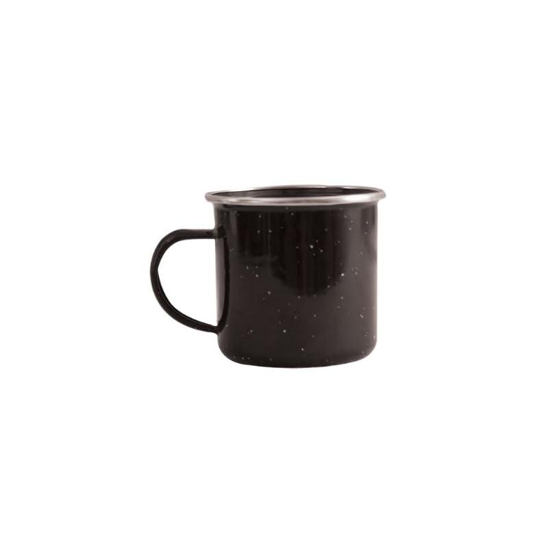 Milestone Camping Enamel Travel Mugs, Plates & Bowls/Ideal For Camping, Hiking, Fishing, Travels & More/Black Colour