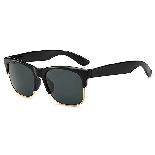 MALLTY Fashion Glass Half Frame Sonnenbrillen, Retro Sonnenbrillen für Männer (Farbe : Schwarz)