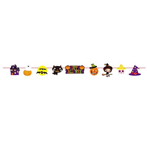�ngende Wimpelkette Festival Szene Layout Flaggen Fahne für Halloween Bestes Ziehen Sie Blumen Thema Dekoration Requisiten Banner Craften ()