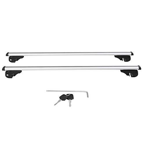 Portapacchi Trasversali Tetto, Universal Lockable Car Roof Rack Bar Bagagli per Barre Portatutto da Tetto Ferroviario Auto in Alluminio Argento (120cm)