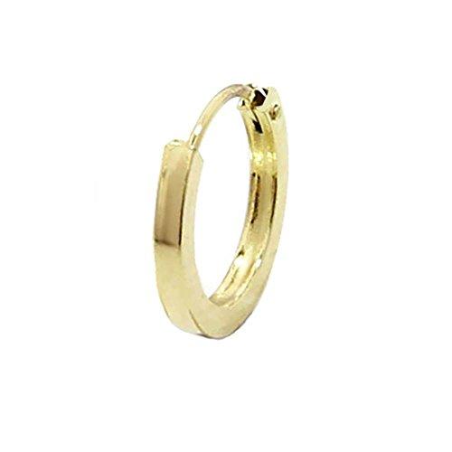 NKlaus EINZEL 585 gelb Gold CREOLE Ohrring Ohrschmuck flach Goldohrring 12mm 1843