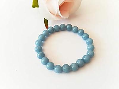 pierres naturelles/celestine/angelite/bracelet elastique/cadeau noel/bracelet/mediumnite