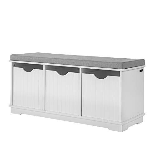 SoBuy® FSR30-W Banc de Rangement avec 3 Cubes et Coussin rembourré Meuble d'Entrée Commode à Chaussure Banquette Confortable