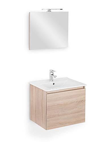 Galdem Bad-Set Cube 60cm Badmöbel-Set Waschplatz Gäste WC Set Gästebad Badezimmer Waschbeckenunterschrank Keramik Waschtisch Spiegel LED Beleuchtung Softclose Sonoma Oak -