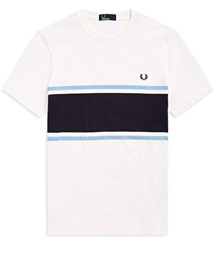 Fred Perry Hombres Camiseta Color Block m5574 129 Blanco XL a198fed8160