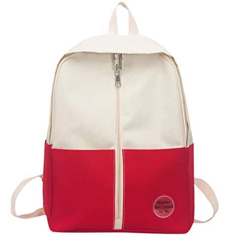 VECOLE Rucksäcke Damen Herren 2019 Neutrale Umhängetasche Kontrast Campus Studententasche Großer Canvas-Rucksack mit Reißverschluss Outdoor-Reiserucksack(rot)