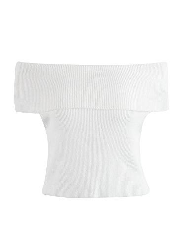 simplee vestiario donne sexy da spalla a maniche corte sopra il maglione a costola) Bianco