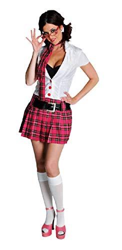 narrenkiste M210174-XS-A weiß-pink Damen College Girl Schüler Kostüm ()